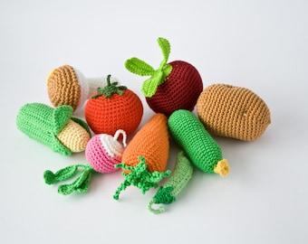 Crochet Vegetables, Set of 9 - beet, corn, radish, tomato, carrot, cucumber, potato, mushroom, pea pod   - play food - FrejaToys