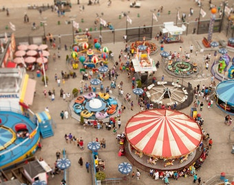 Coney Island Astroland Photo, tilt shift, beach, boardwalk, carnival, ferris wheel - fine art photograph