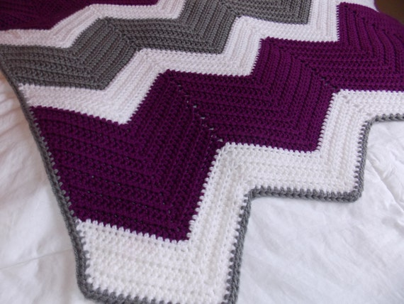 Made to Order-Purple, Grey and White Chevron/Ripple Blanket