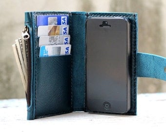 iPhone5/ Teal leather iPhone wallet with case and mini zip