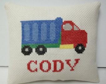 Dump Truck Personalized Mini Pillow  Cross Stitch Shelf Pillow Or Door Pillow  Make To Order