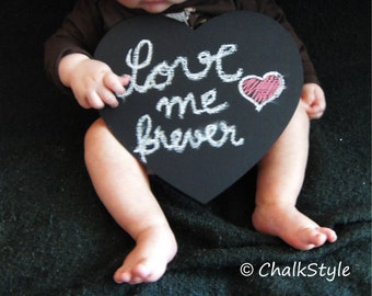 Large CHALKBOARD PHOTO PROP Heart Chalk Board, Baby, Maternity or Pregnancy Photobooth Props