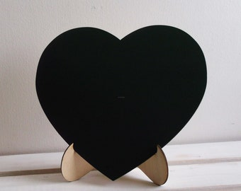 Large CHALKBOARD with STAND Heart Chalk Board for Rustic Wedding Decor or Menu Centerpiece Engagement or Wedding Photobooth Props
