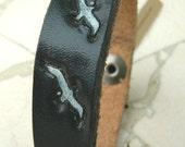 Leather Bracelet Dark Navy Seagulls Birds Recycled Reclaimed Cuff with Snap BLK-43-1