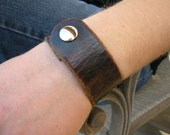 Mens Black Leather Cuff Distressed Oiled Tough Bracelet with Snap BRN-136-1