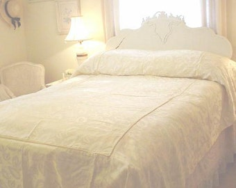 Satin Bedspread Custom White Vintage Twin Cottage Prairie Shabby Chic