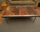 Industrial Coffee Table, Old Barn Wood, raw steel trim and hairpin legs, Reclaimed, Character, Authentic, Rustic
