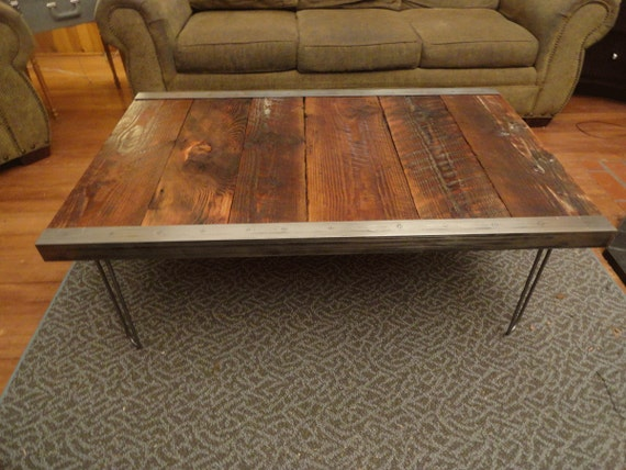 industrial coffee table with raw steel trim and by