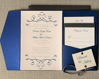 Navy Blue and Gray Swirl Pocketfold Wedding Invitation Suite