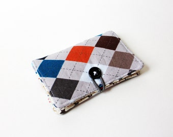 Grey Blue Brown Argyle Fabric Business Card Holder, with Blue Football Starz - Credit Card Holder, Cloth Card Holder, Gift Card Holder