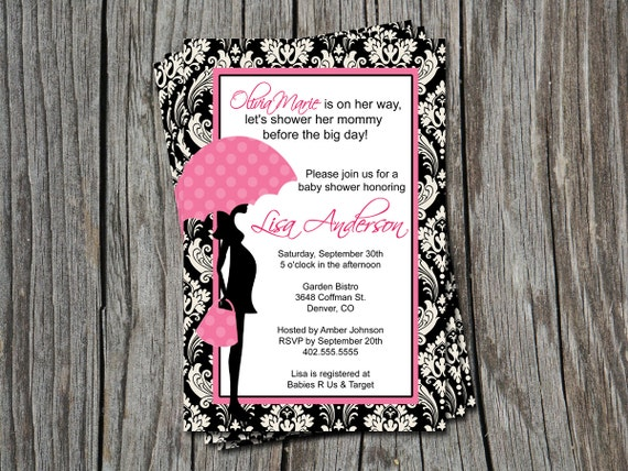 Black Damask Pink Baby Shower Invitation Card  - You Print