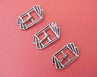 3 Charming Little Enameled Art Deco Era Buckles with Black Enameling