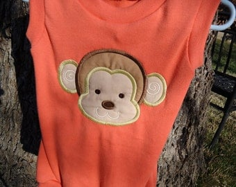 Baby Onsie 12 months with monkey face embroidered applique
