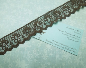 1 yard of 1 1/4 inch Chocolate Brown Chantilly Lace trim for bridal, baby, altered couture, lingerie by MarlenesAttic - Item Q9