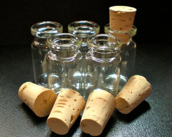 5 Wide Glass Bottle Vials with Cork. Size 1 1/2 inch tall Vial. Item - 2140