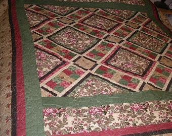 "Green, Pinks,  Mauves and Browns, ""Sweet Melodies""  Handmade Quilt - Full or Queen Bed size"