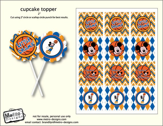 Mickey Mouse Basketball - Cupcake Toppers, Favor Tags