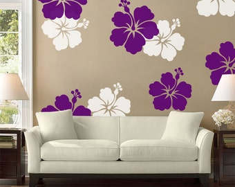 hibiscus flower wall decal large wall flower hawaiian decal hibiscus flower sticker - Decorative Home Items