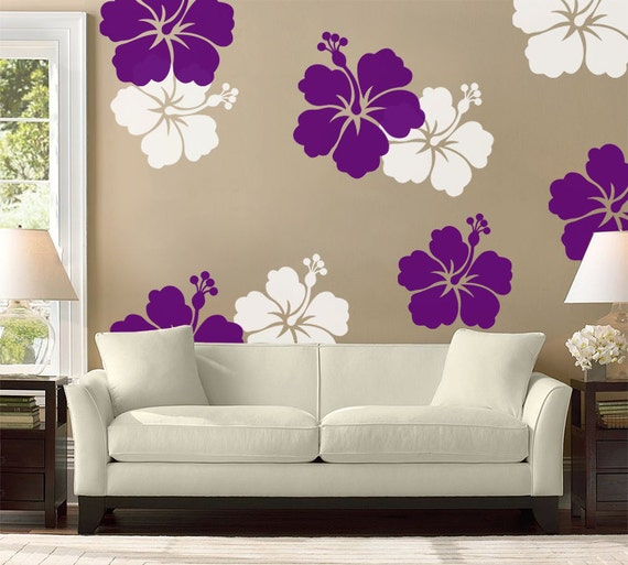 hibiscus flower wall decal large wall flower hawaiian decal. Black Bedroom Furniture Sets. Home Design Ideas