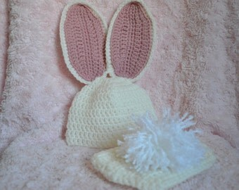 Crocheted Bunny Photo Prop White Hat & Diaper Set Cover 0-3 Months MADE TO ORDER