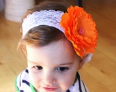 Orange Creamsicle Lace Headband - Photography Prop - newborn, baby, child, adult - birthday, summer, wedding, flower girl