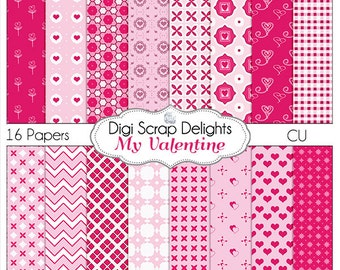 Valentine Papers for Digital Scrapbooking, Crafts, Cards, Pink Hearts Instant Download