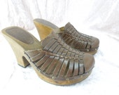Leather Clogs Vintage MIA Wood Brown Size 6 Woven Womens Mules Slides Brazil