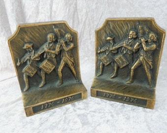 Cast Iron Bookends Baker Mfg Large Heavy Bicentennial 1776-1976
