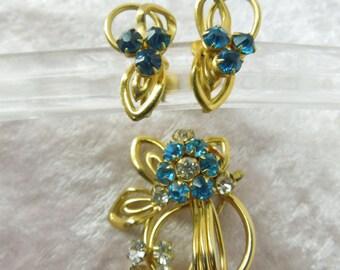 Vintage Rhinestone Set Brooch Earrings Clip on Earrings Three Piece Blue Clear Rhinestones Flowers