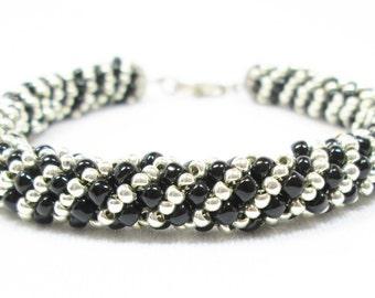 Black & Silver Russian Spiral Bracelet
