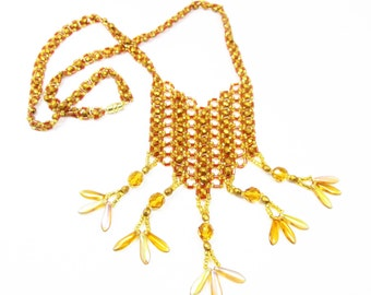 Gold Right Angle Weave Necklace
