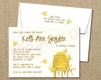 Bumble Bee Buzz and Honey Baby Shower Invitation - Digital File