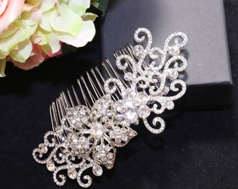 Bridal Hair Comb, Wedding Hair Comb, Vintage Style Floral Hair Comb, Rhinestone Crystal Hair Comb, Big Flower Hair Comb, Hair Accessory