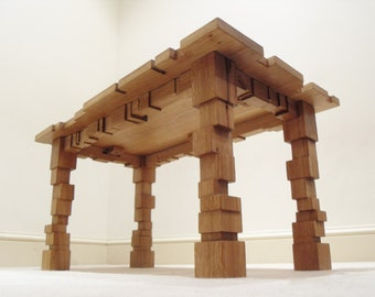 Oak Coffee Table - Geometric - Living Room Furniture