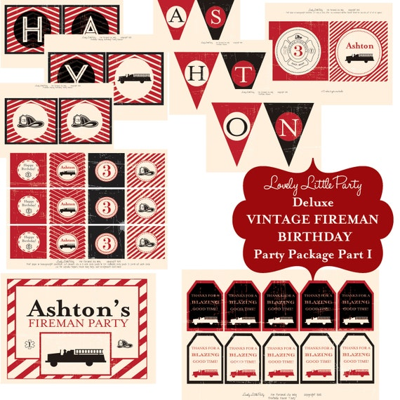 Personalized Printable Vintage Fireman Deluxe Birthday Package - LOVELY LITTLE PARTY