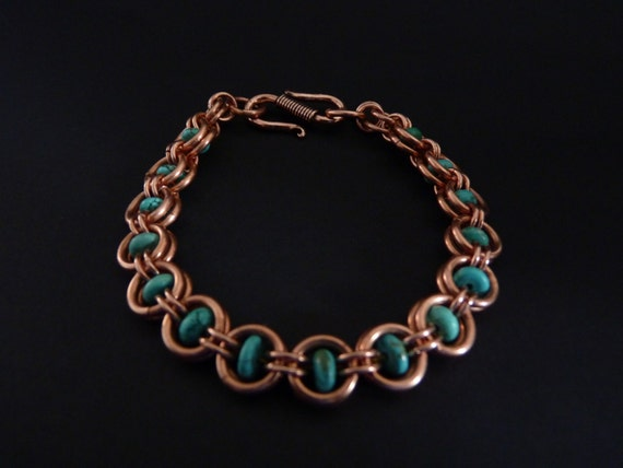 natural turquoise and copper chain maille bracelet