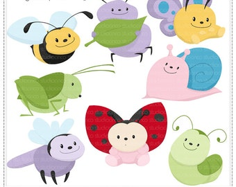 Chubby Insects - Digital Clip Art , Commercial Use Clipart, Scrapbook, Printable - Instant Download