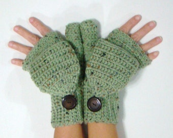 Convertible Fingerless Mittens, Frost Green Fleck Mittens, Convertible Fingerless, Texting Mittens, Green Convertible Gloves, crochet mitts