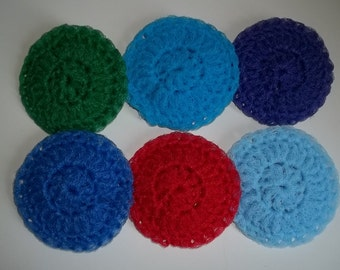 "4"" Pot Scrubbers Scrubbies Nylon Net - Set of 6 - Assorted Colors - Handmade Crochet"