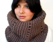 Brown Lace  Cowl Super Soft mixed Wool Neckwarmer  Chunky Texture Fashion Women Cowl