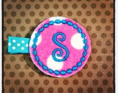 Hot Pink and White Polka Dot with Turquoise Initial... Felt Hairclips...Monogrammed Hairclips...Baby/Infant Hairbows...Felties