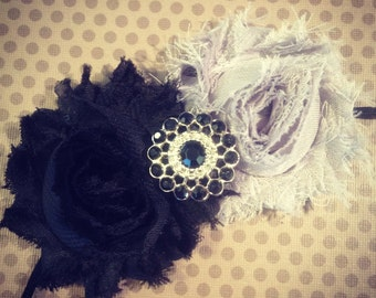 Black and Gray Shabby Chic Flower Headband...Adult Headbands...Baby/Infant Headbands...Hairbows