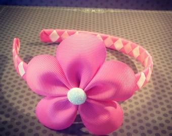 Pink Flower Hairclip with Shades of Pink Woven Headband...Girls Headband...Baby/Infant Headband...Headband