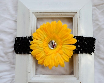 Black Crochet Elastic Headband with Removable Yellow Gold Daisy Flower Hair Clip Accessory - Baby Girl Gift Present Shower Birthday Team