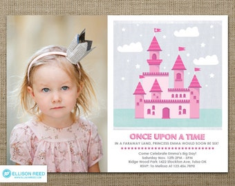 Princess Invitation - Princess Birthday - Castle - Princess Printable - Fairy Tale - girl birthday - Pink - Purple - Printable Party