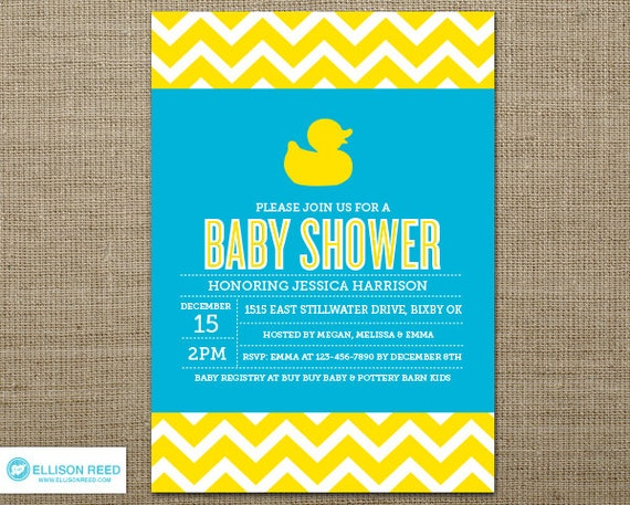 items similar to duck baby shower invitation - baby shower invite, Baby shower invitations