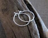 Small Hoop Earrings - Handmade Sterling Silver Hoop Earrings - Miniature Silver Hoops / Classic Earrings / Handmade Hoops. Everyday Earrings