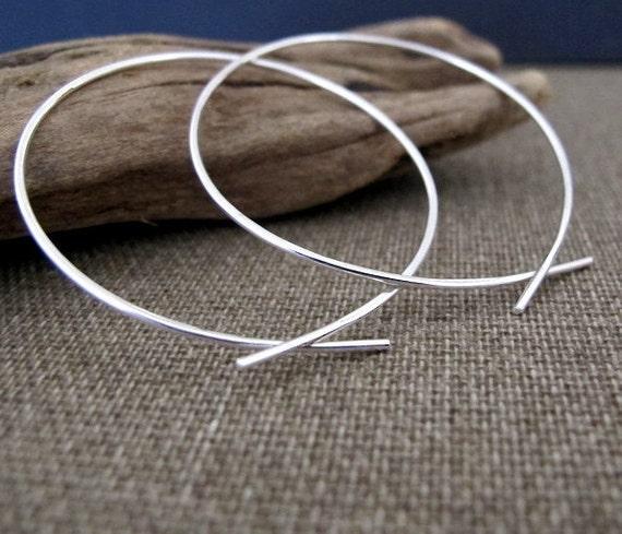 Omega Hoops Earrings. 2 inch Sterling Silver Open Hoops Earrings. Modern Silver wire Earrings. Hammered Hoops.Unique Earrings.Trendy Jewelry