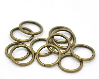 100pcs - 10mm Antique Bronze Jump Ring - 16 Gauge - Ships from USA, Jewelry Finding, Bronze Finding, Bronze Jewelry Making Supplies - JR27