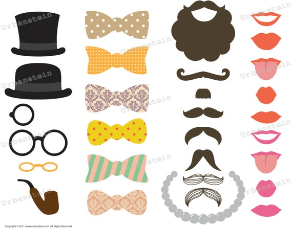 Items similar to photo booth props vintage set diy printable items similar to photo booth props vintage set diy printable pdf wedding props instant download on etsy pronofoot35fo Images